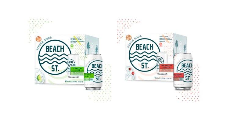 De blikjes van Beach St. worden verpakt in een kartonnen doos met een opvallend design.