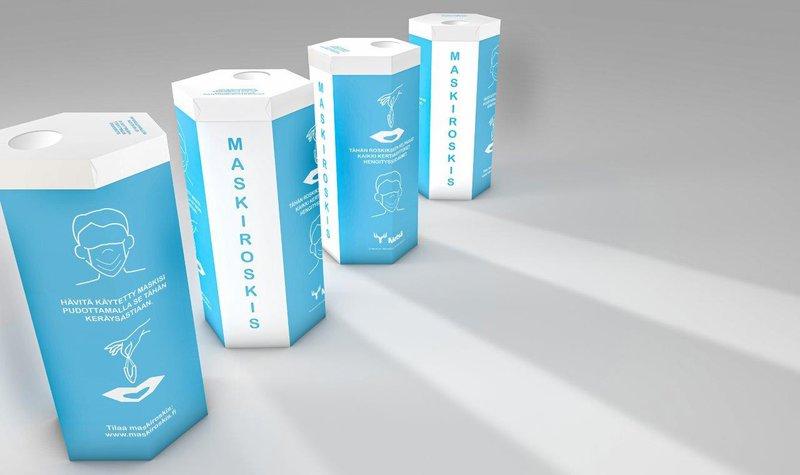 De innovatieve afvalemmer voor gezichtsmaskers van Metsä Board is geëerd met een ScanStar.