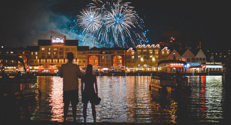 The fireworks show at Disney's Boardwalk Resort near Disney World.