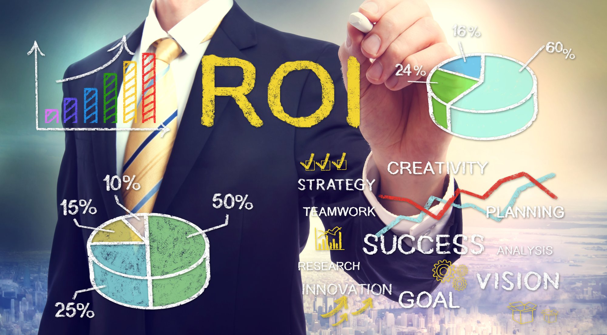 Digital Marketing Challenges - Businessman drawing ROI (return on investment) with graphs