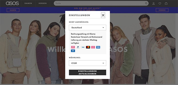 eCommerce user experience best practices - geolocation example