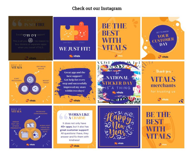 Vitals Shoppable Instagram Feed on Shopify
