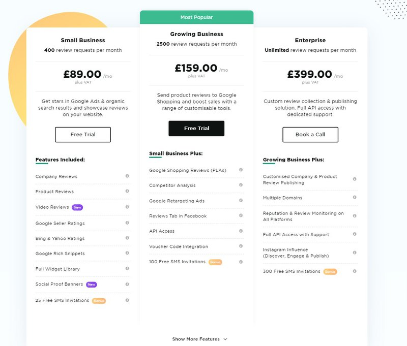 Reviews.io pricing