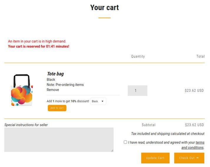 Vitals Pre-Order app — cart preview