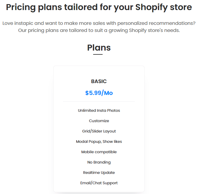 Instagram Feed Shopify App Pricing
