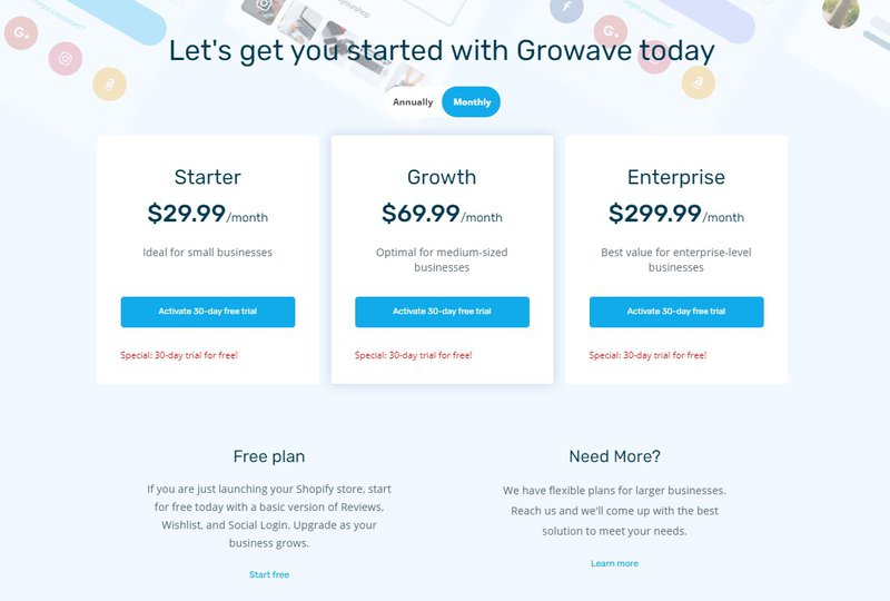 Shopify Product Reviews Alternatives - Growave Pricing