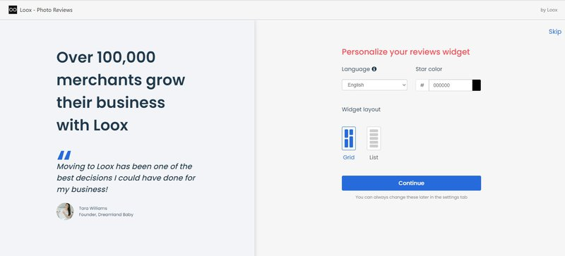 Personalize your reviews widget - loox