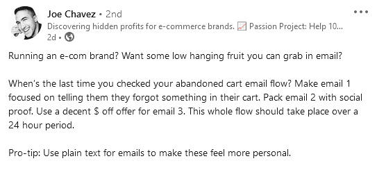 eCommerce user experience best practices - advice by Joe Chavez