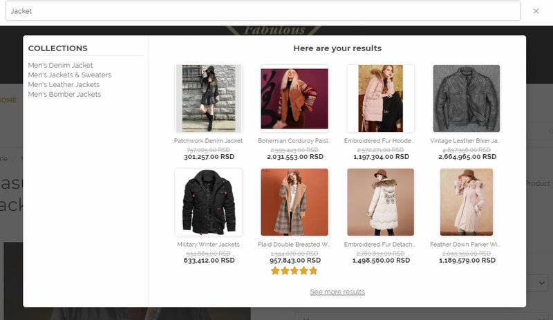 eCommerce user experience best practices - vitals instant search