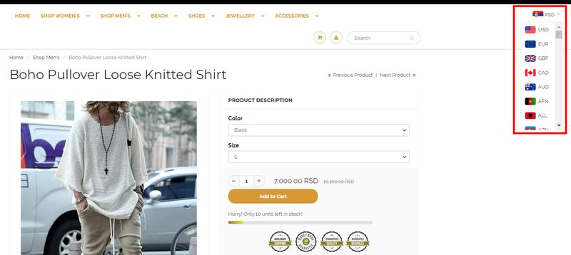 eCommerce user experience best practices - vitals currency converter