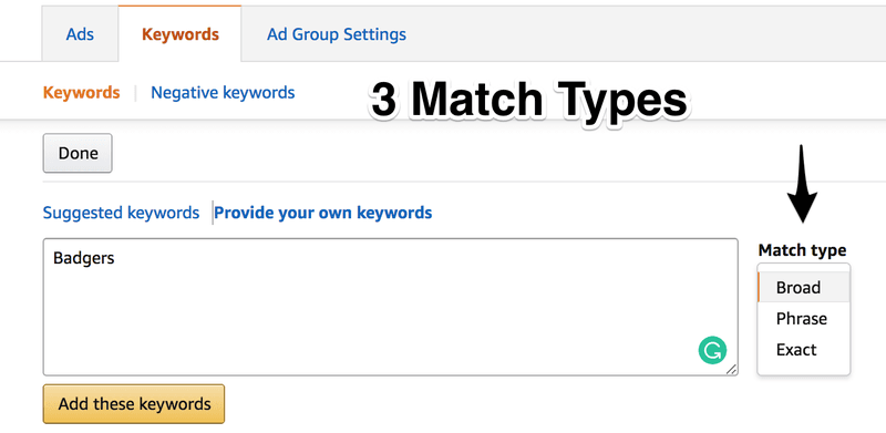 Amazon Campaign Match Types