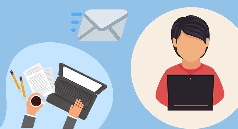 formele e-mail schrijven in het Engels op de laptop