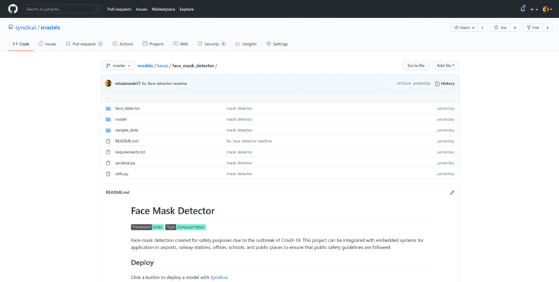 face mask detector reposiotry
