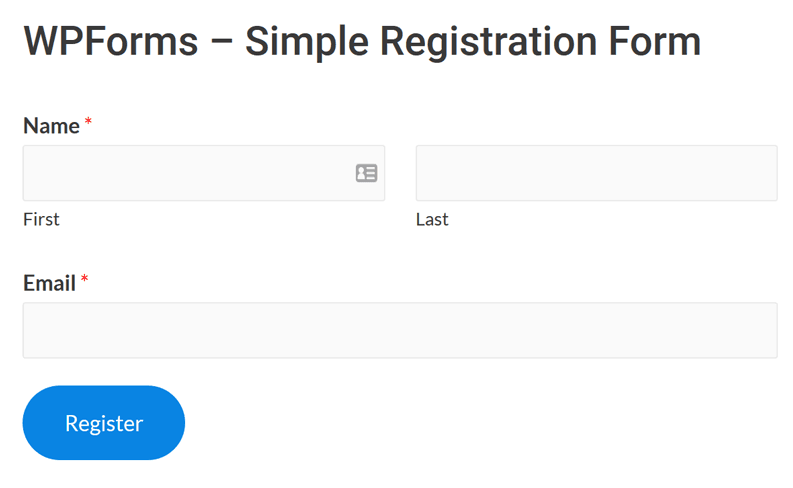Posted WPFormS registration form