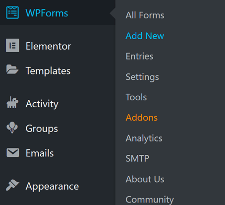 Add a new WPForms form