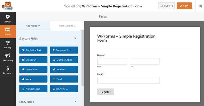 Completed WPForms registration form
