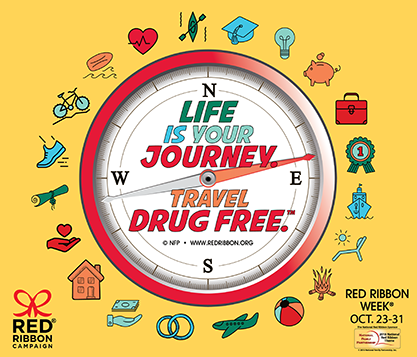 Red Ribbon week poster. Life is a journey - travel drug free