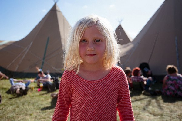 smiling young girl at PTA camping event