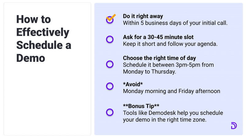 how to effectively schedule demos