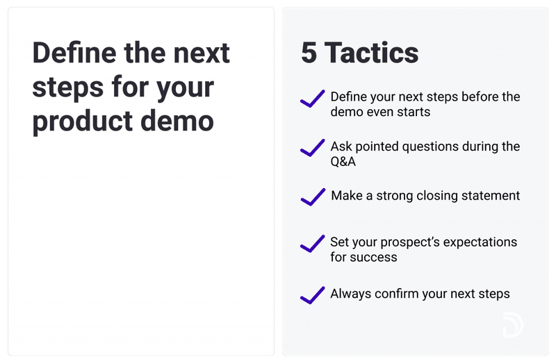 next sale steps for product demo