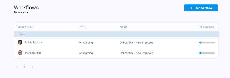 Workflow template in Officient