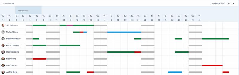Officient Vacation calendar