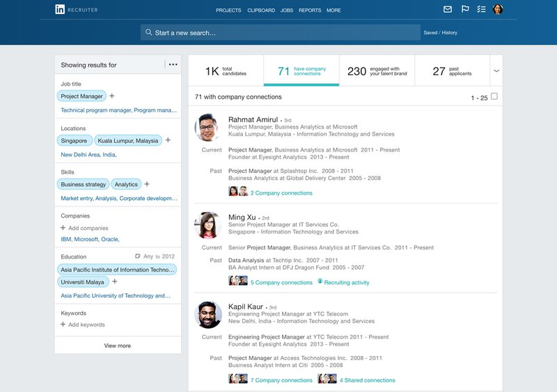 HR tools rekrutering: Linkedin Recruiter