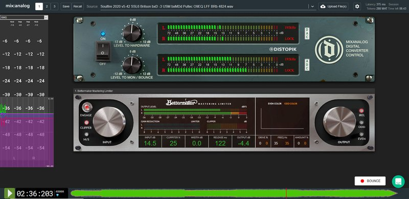 Bettermaker Limiter and iZotope Ozone 9 Limiter settings