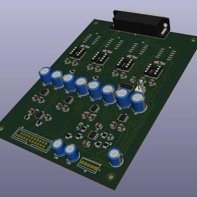 analog volume controller PCB design render