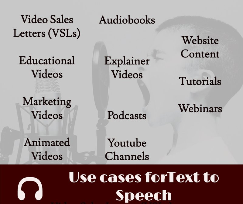 Use cases for Text To Speech Programs include video voiceover, podcasts, audiobooks. Blog of Amar Vyas