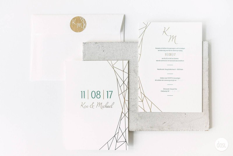 Geometrische styling drukwerk Dasi - House of Weddings