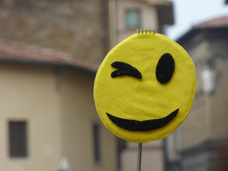 I couldn't resist photographing this, during a visit to Florence Italy.  It makes me feel happy whenever I look at it.  Great to start the day with a smile and cheeky wink.