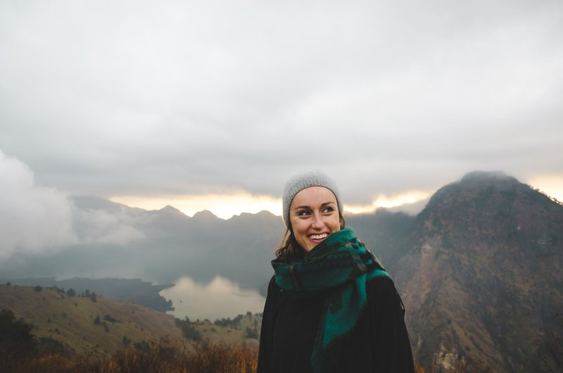 Smiling woman on Mount Rinjani