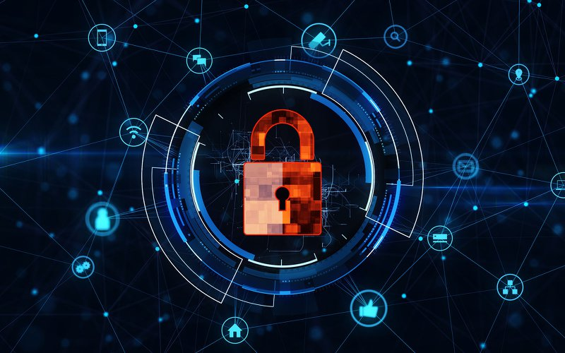 Internet technology network and cyber security concept .with lock icon on secure data network technology, cyber attack protection for worldwide connections.