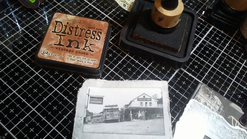 Inked my printed vintage photos with vintage photo distress ink