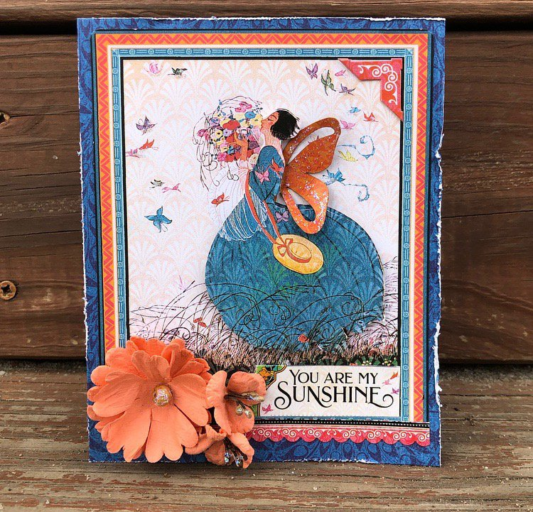 sunshine, graphic 45, card, flower, prima