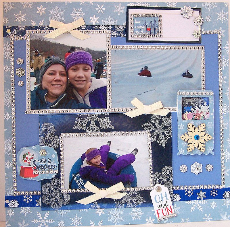 FotoBella Snow Layout using Crta Bella Christmas Collection Scrapbook layout