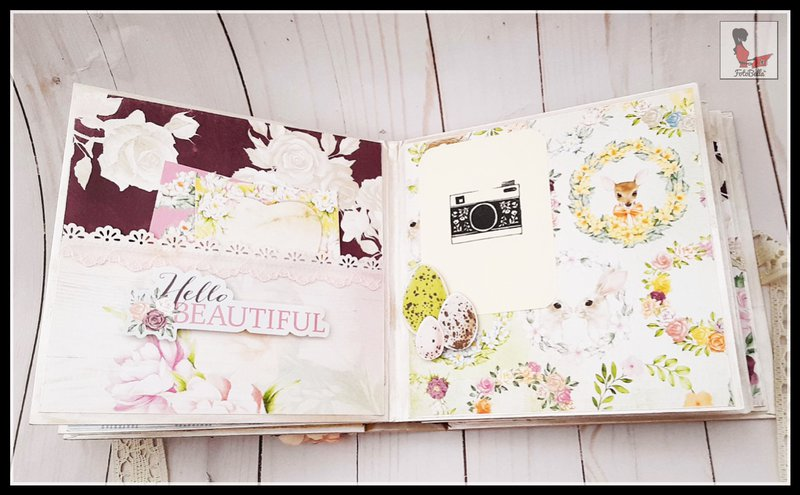 bo bunny, Fourth and Fifth pages with pocket with journaling tags and photo mat