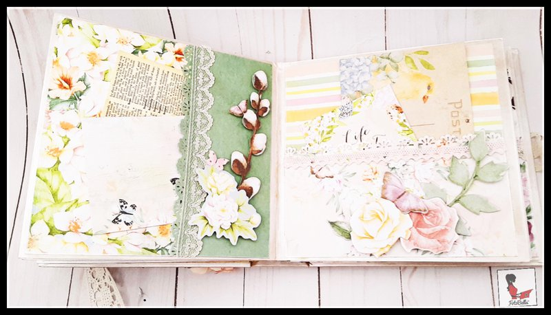 Sixth and Seventh pages with side & regular pockets with journaling tags