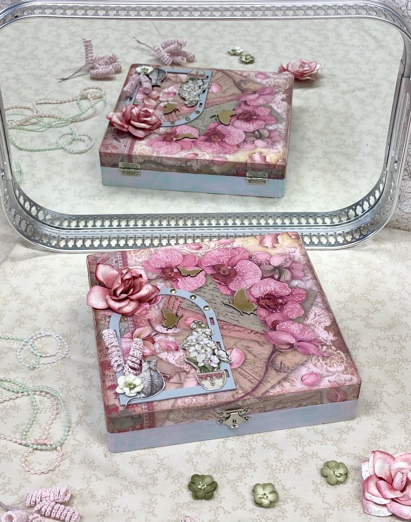 Altered Box with Orchids and Cats