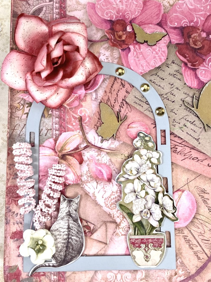Orchids and Cats chipboard stickers