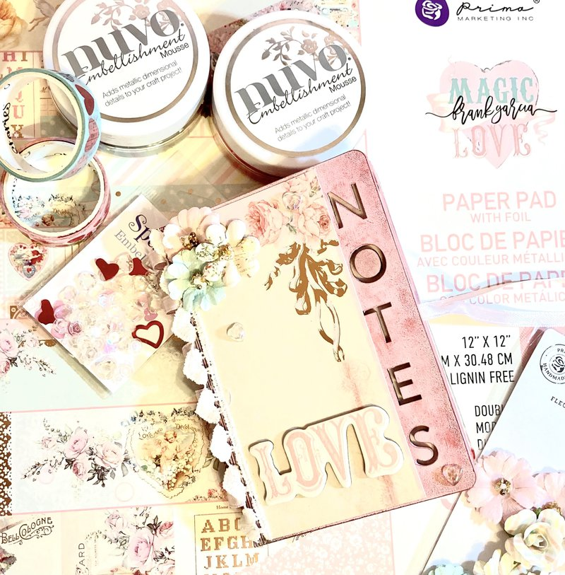 Mini Notebook decorated with Magic Love