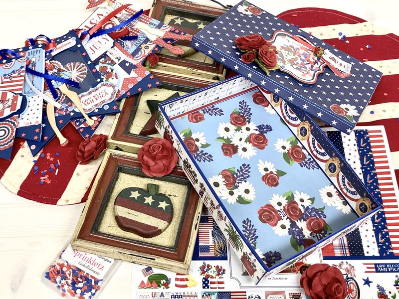 Box decorated with God Bless America