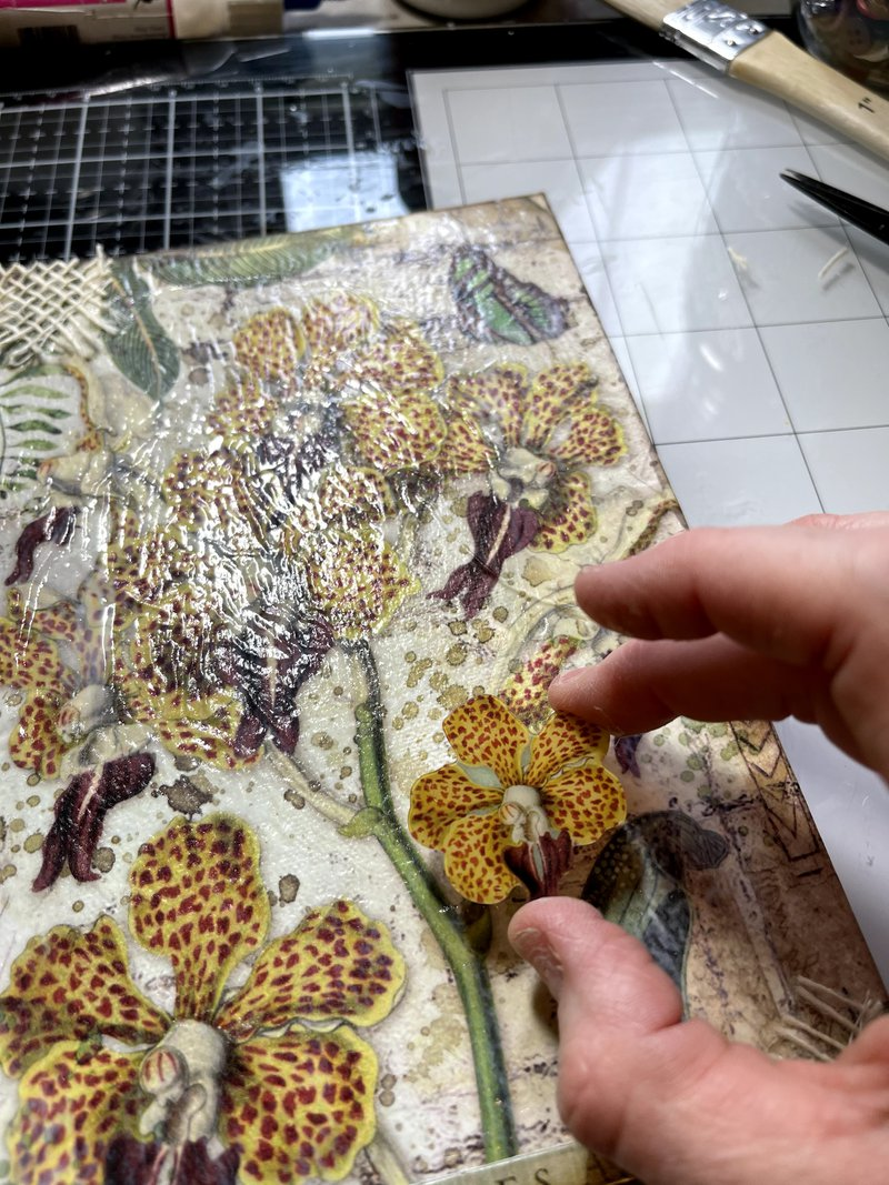 stamperia, fotobella, floral mixed media canvas
