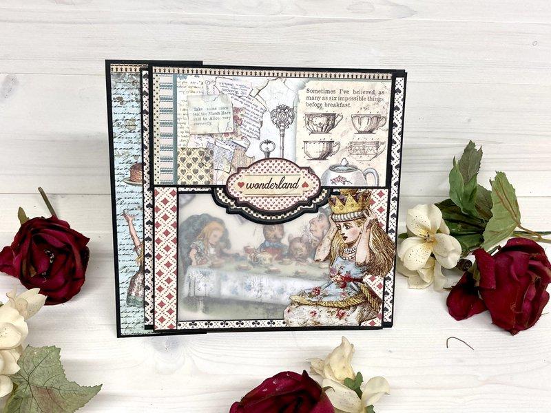 Alice in Wonderland mini album, stamperia, fotobella