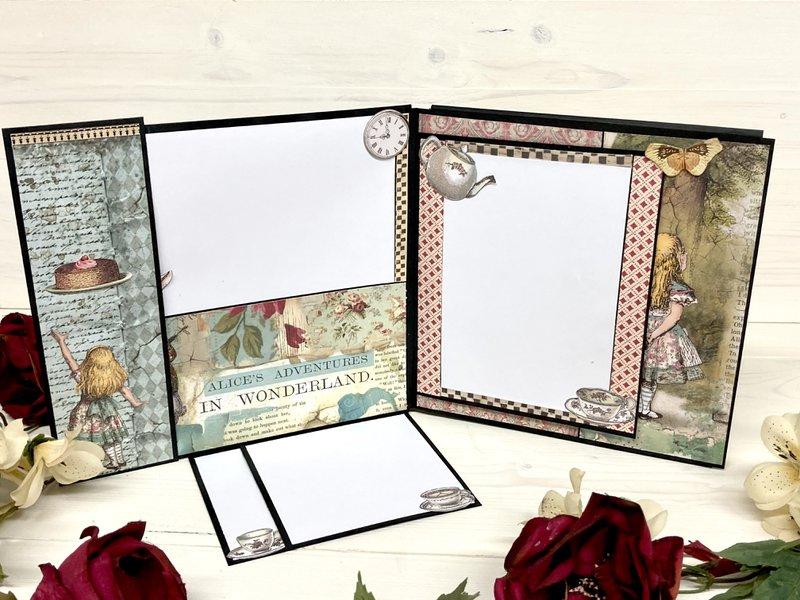 stamperia, alice in wonderland, fotobella, mini album