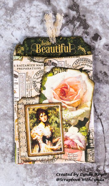 graphic 45, fotobella, envelope die, portrait of a lady
