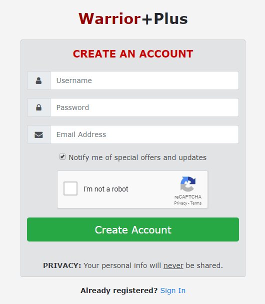 New User form for Warrior plus