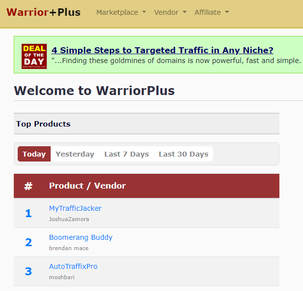 Pic of Warrior Plus dashboard