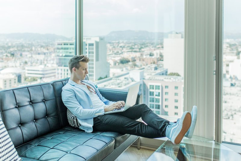 "This Entrepreneur, Austin Distel, is blogging on his laptop about building a social media marketing strategy to showing bloggers how to make money on Facebook, Pinterest, and Instagram. His business has become a technology company, selling software and day trading cryptocurrency on the blockchain.Model: @Austindistelhttps://www.instagram.com/austindistel/Photographer: @breeandstephenhttps://www.instagram.com/breeandstephen/This photo is free for public use. ❤️ If you do use this photo, Please credit in caption or metadata with link to ""www.distel.com""."